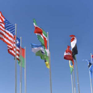 drapeaux flottant au vent