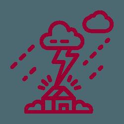 pictogramme maison avec orage