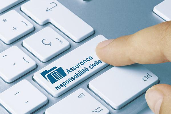 """touche de clavier d'ordinateur avec mention """"assurance responsabilité civile"""""""