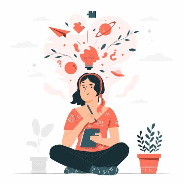 dessin de femme qui réfléchit